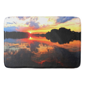 Bathmat abstract sunset lake art bath mats