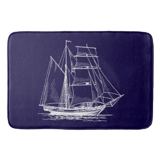Bathmat   Blue sail boat ship nautical sailboat Bath Mats