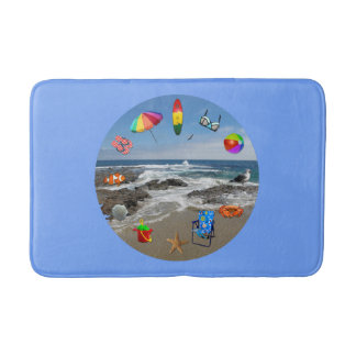 Bathmat with beach, ocean surrounded by beach item