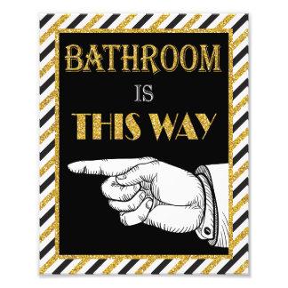 "Bathroom Direction Sign (Left) - 8"" x 10"" Print"