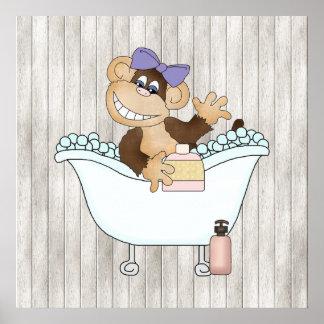 Bathroom Monkey cartoon wall poster