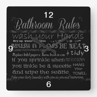 Bathroom Rules Wallclock