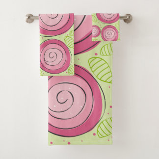 Bathroom Towel Set, Pink Roses
