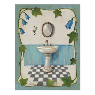 Bathroom with Floral Border Post Cards