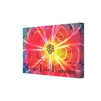 Batik Design Flower Peace Love Harmony Canvas
