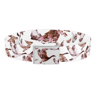 Batik Dusty Rose Geese in Flight Waterfowl Animals Belt