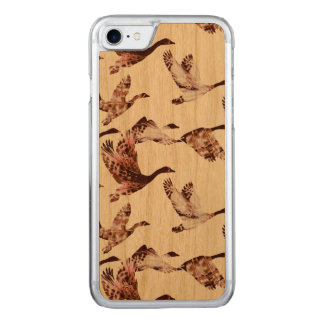 Batik Dusty Rose Geese in Flight Waterfowl Animals Carved iPhone 8/7 Case