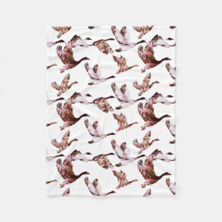 Batik Dusty Rose Geese in Flight Waterfowl Animals Fleece Blanket