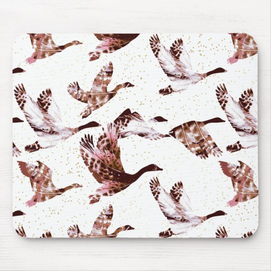 Batik Dusty Rose Geese in Flight Waterfowl Animals Mouse Pad