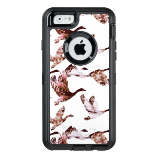 Batik Dusty Rose Geese in Flight Waterfowl Animals OtterBox Defender iPhone Case