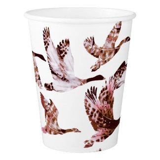 Batik Dusty Rose Geese in Flight Waterfowl Animals Paper Cup
