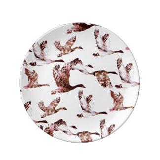 Batik Dusty Rose Geese in Flight Waterfowl Animals Plate