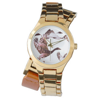 Batik Dusty Rose Geese in Flight Waterfowl Animals Watch