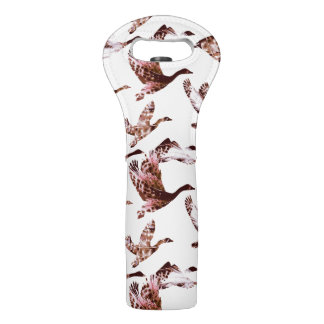 Batik Dusty Rose Geese in Flight Waterfowl Animals Wine Bag