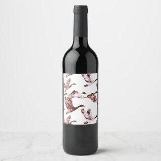 Batik Dusty Rose Geese in Flight Waterfowl Animals Wine Label