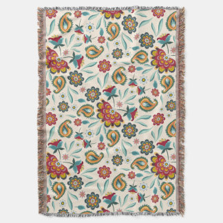 Batik Floral Boho Indonesian Style Throw Blanket