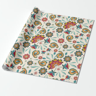 Batik Floral Boho Indonesian Style Wrapping Paper