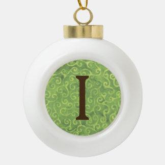 Batik Green Lime Coconut Christmas Ball Letter I Ceramic Ball Christmas Ornament