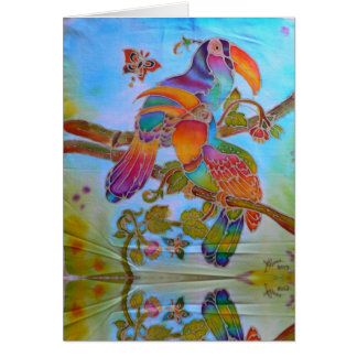 Batik Hornbills in rainbow handpainted Card