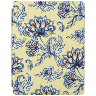 Batik Indigo Floral Pattern on yellow background iPad Cover
