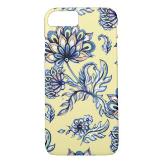 Batik Indigo  Floral Pattern on yellow background iPhone 8/7 Case