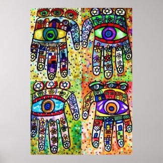 Batik Judaica Hamsas Poster