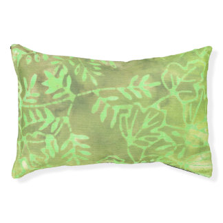 Batik Lime Coconut Green Leaves Small Dog Bed