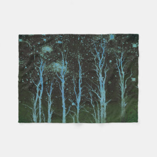 Batik Style Artsy Trees Green Fleece Blanket