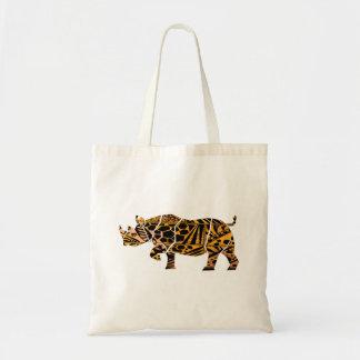 Batik Style Black Rhino tote bag
