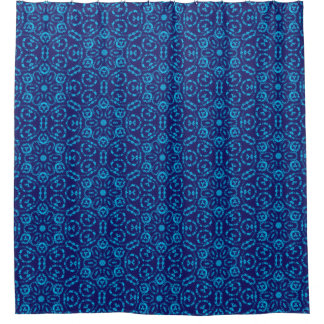 Batik Style Blue Abstract Floral Fabric Shower Curtain