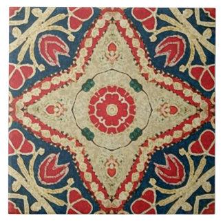 Batik-style Tiles, floral pattern, red, blue beige Large Square Tile