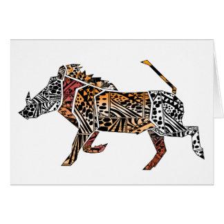 Batik Style Warthog Birthday Card