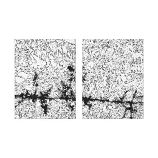Batik Tributary Diptych in Black and White Stretched Canvas Prints