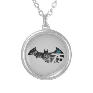 Batman 75 Logo - Chalkboard Silver Plated Necklace