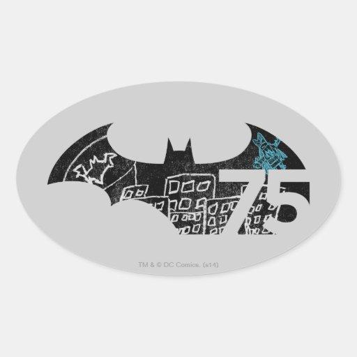 Batman 75 Logo - Chalkboard Oval Stickers