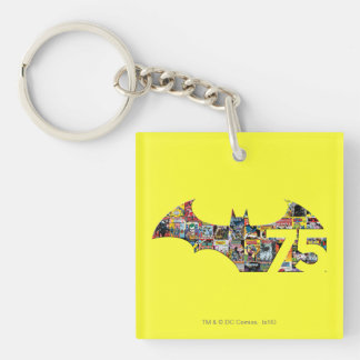 Batman 75 Logo - Comic Covers Double-Sided Square Acrylic Key Ring