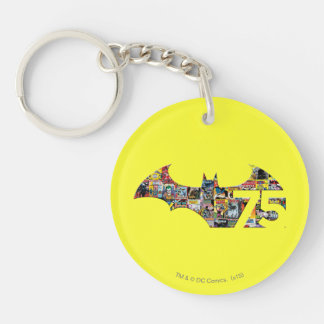 Batman 75 Logo - Comic Covers Double-Sided Round Acrylic Key Ring