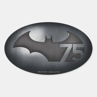 Batman 75 - Metal Grid Oval Sticker