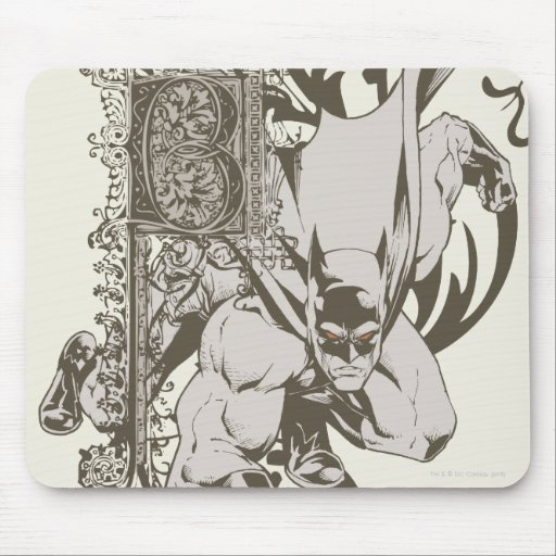 Batman and Decorated Letter B Mousepad