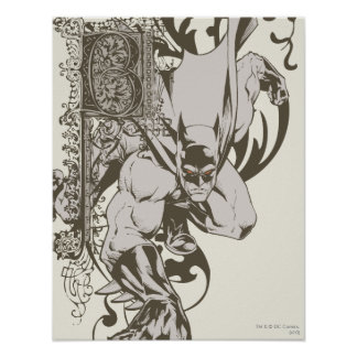 Batman and Decorated Letter B Poster