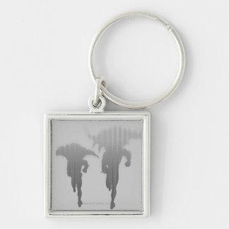 Batman And Robin Halftone Gradient Silver-Colored Square Key Ring