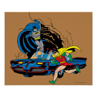 Batman And Robin In Batcave Poster