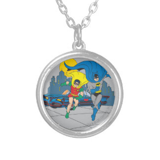 Batman And Robin Running Round Pendant Necklace