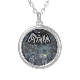 Batman And Robin With Logo Distressed Graphic Round Pendant Necklace