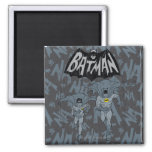 Batman And Robin With Logo Distressed Graphic Square Magnet
