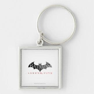 Batman Arkham City Logo Silver-Colored Square Key Ring