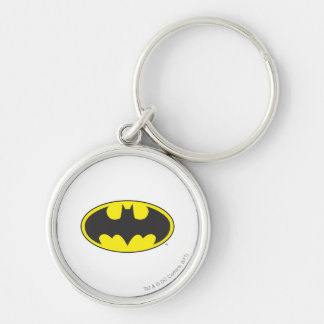 Batman Bat Logo Oval Silver-Colored Round Key Ring