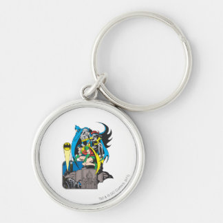 Batman/Batgirl/Robin Silver-Colored Round Key Ring