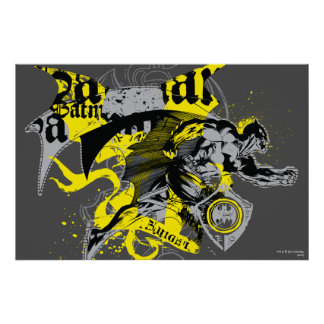 Batman Black and Yellow Collage Poster