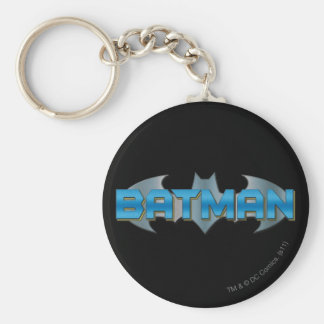Batman | Blue Name Logo Basic Round Button Key Ring